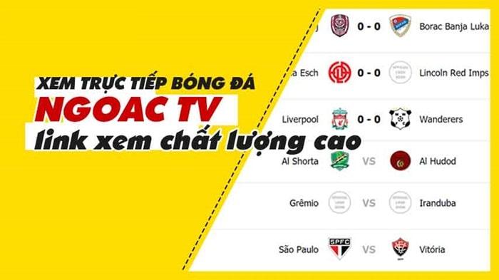 Ngoac TV - kênh xem bóng đá trực tiếp chất lượng